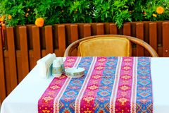 Table covered with a cloth Royalty Free Stock Photography
