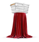 Table covered cloth with Shopping Basket (clipping path included) Stock Photos