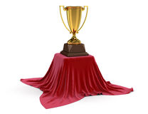 Table covered cloth with Trophy Cups (clipping path included) Stock Image