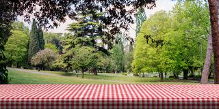 Table covered with red tablecloth on green park background, copy space. 3d illustration stock illustration