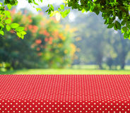 Table covered with red polka dot tablecloth over blur trees with Stock Image