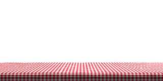 Table covered with red tablecloth on white background, copy space. 3d illustration stock illustration