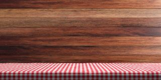 Table covered with red tablecloth on wooden wall background, copy space. 3d illustration. Table covered with red checkered tablecloth on wooden wall background royalty free illustration