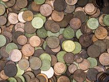 Lot of euro coins on a table royalty free stock photography