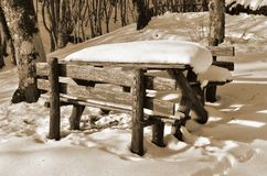 Table covered with snow Royalty Free Stock Images