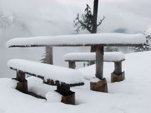 Table covered by snow Royalty Free Stock Photography