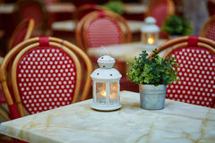 Table in cozy outdoor cafe Royalty Free Stock Photo