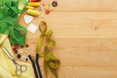 Table créative de couturier, vue supérieure Photographie stock