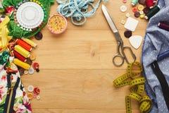 Table créative de couturier, vue supérieure Photo stock