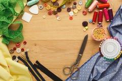 Table créative de couturier, vue supérieure Images stock