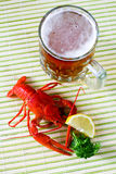 Table with crayfish Royalty Free Stock Photography