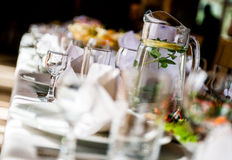 Table with crockery Royalty Free Stock Photo