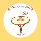 table with cup of hot tea. Hand drawn Royalty Free Stock Photography