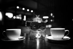 A table in a cafe objects. A table with cup of tea in a cafe objects royalty free stock photography