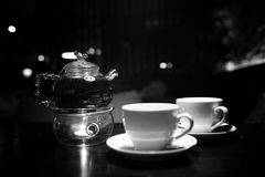 A table in a cafe objects. A table with cup of tea in a cafe objects stock image