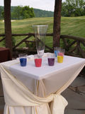 Table and cups of sand for a ceremony Royalty Free Stock Image