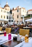 Open cafe in old town of Dubrovnik in Croatia royalty free stock photo