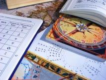 Table d'astrologie avec le diagramme natal, Serbie, avril 2018 image libre de droits