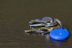 On the table of dark wood is a bunch of keys to the house and the car. royalty free stock image