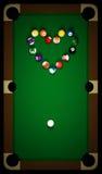 Table de billard avec le coeur Image stock