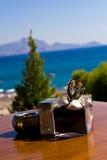 table de bord de la mer de restaurant Images stock