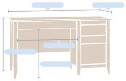 Table de bureau avec les dimensions de base Images libres de droits