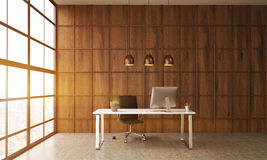 Table de bureau dans la chambre avec le mur en bois Image libre de droits