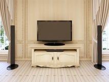 Table de chevet classique pour l'unité de TV dans le lit néoclassique luxueux illustration stock