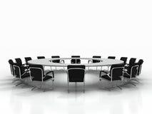 Table de conférence d'isolement sur le fond blanc Photo libre de droits
