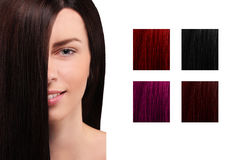 Table de couleur de cheveux avec une fille de sourire Photos libres de droits