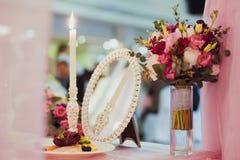 Table de décor de mariage Photographie stock libre de droits