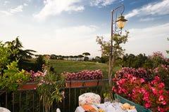 Table de dîner dans le restaurant italien Images libres de droits