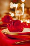 Table de dîner vide de Noël photographie stock