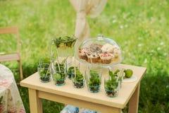 Table de dessert pour une partie Gâteau de chocolat, petits gâteaux, douceur, macarons, guimauves, zéphyr et fleurs Photographie stock libre de droits