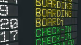 Table de embarquement d'aéroport de changement de statut, programme de départs de vol international illustration libre de droits