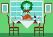 Table de fête avec la dinde et le vintage Photo libre de droits