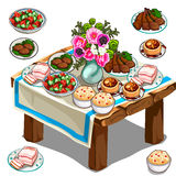 Table de fête avec la nourriture et les fleurs délicieuses Image stock