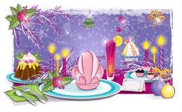 Table de fête pendant la nouvelle année Image stock