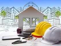 Table de fonctionnement d'architecte avec l'industrie et l'ingénieur du bâtiment photos libres de droits