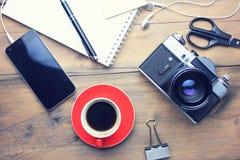Table de fonctionnement sur différents accessoires Photographie stock