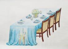 Table de mariage Aspiration de main sur un livre blanc Images libres de droits