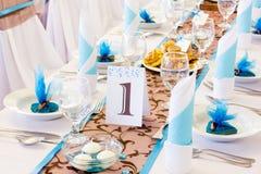 Table de mariage avec le numéro un Photos stock