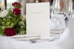 Table de mariage - carte de buffet Photographie stock libre de droits