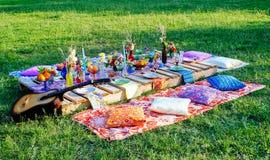 Table de mariage de décor pour un boho Photo libre de droits