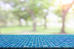 Table de mosaïque avec le bokeh naturel brouillé image libre de droits