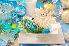 Table de Noël avec le flocon de neige Photos stock