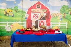 Table de nourriture anniversaire de thème de grange au 2ème Photographie stock libre de droits