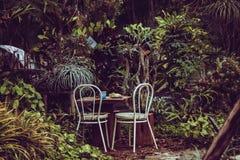 Table de nourriture dans la forêt Images libres de droits
