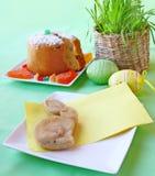 Table de Pâques avec un lapin Images libres de droits