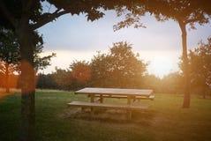Table de pique-nique au coucher du soleil Photo libre de droits